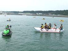 ヨット、乗り場、バナナボート